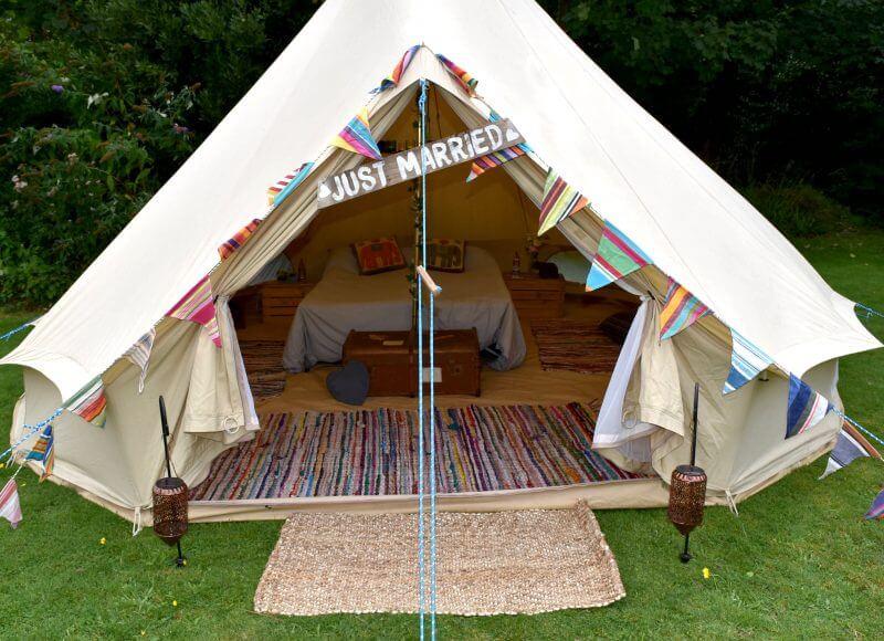 Luxury Honeymoon Bell Tent (Camp Bed) Hire Sussex & Kent