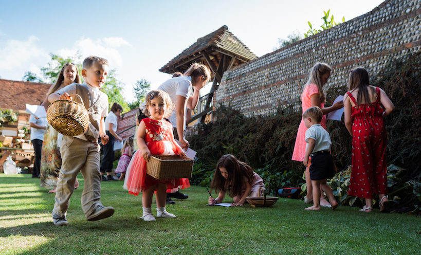 A group of children participating in an activity during a christening